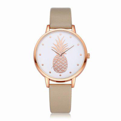Fanteeda FD123 Women Pineapple Dial Leather Band Quartz Wrist Watch
