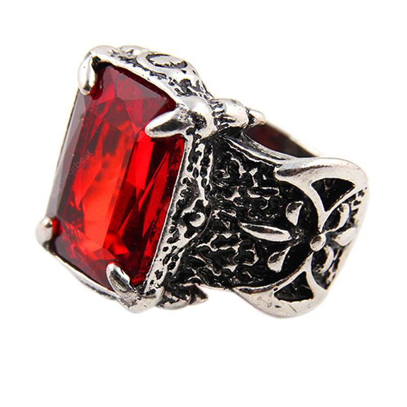Men'S Stainless Steel Large Crystal Red Gemstone Ring
