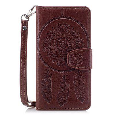 3D Embossed Wind Bell PU Leather Flip Folio Wallet Cover for iPhone X