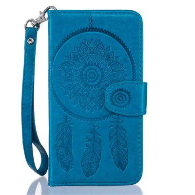 3D Embossed Wind Bell PU Leather Flip Folio Wallet Cover for iPhone 8