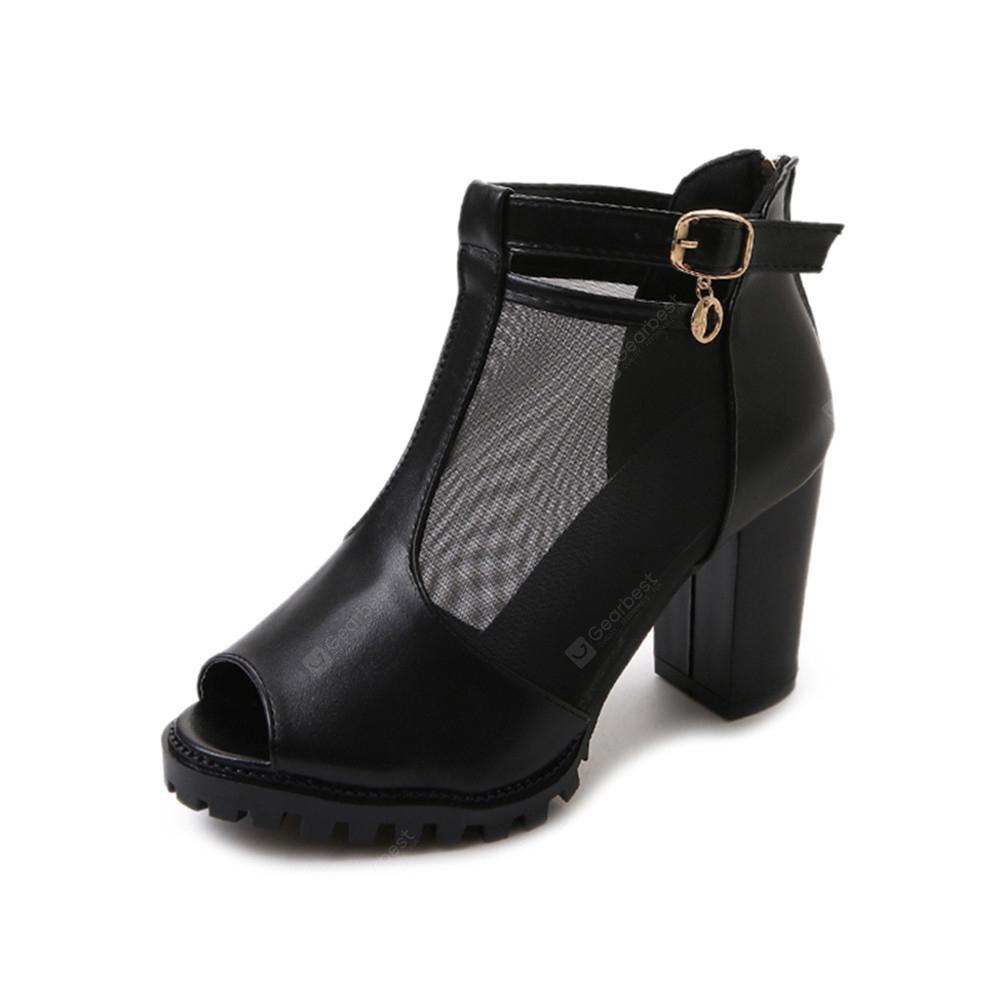 Net Gauze Cold Boots Heel Buckle Thick Heel  Fish Mouth Women's Shoes