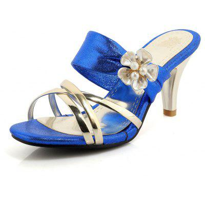 Beautiful Gold-Plated Middle Heel Slippers