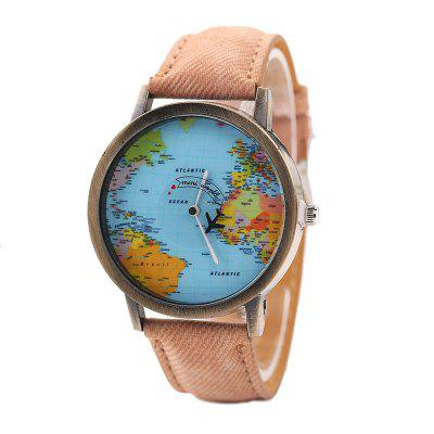 XR1105 Men Simple Vintage Jean Canvas with PU Band Map Watch