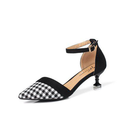 Summer New Button Pointed Casual Plaid Hollow Comfort Shoes