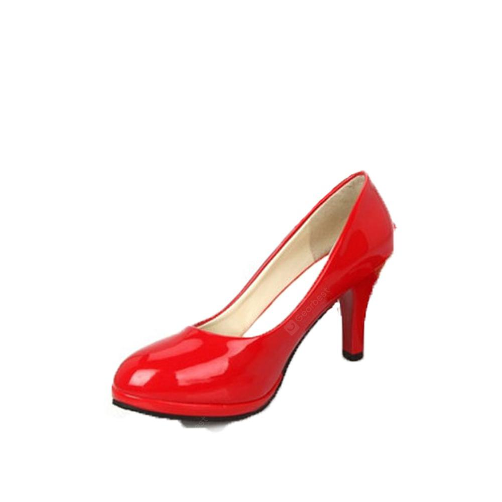 Professional Round Head Single Patent Leather Shallow Simple Women's Shoes
