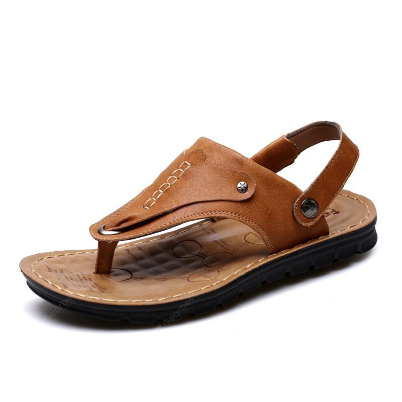 Male Fashion CooL Causal Outdoor Clip Toe Leather Men's Sandals Summer Slippers