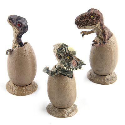 Dinosaur Handmade Model Half Hatched Dinosaur Egg Model with Pedestal 3PCS