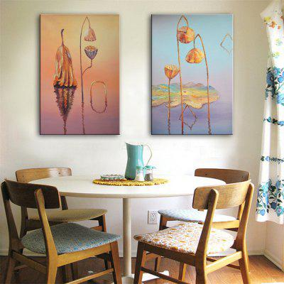 Special Design Frameless Paintings Lotus Leaf Withered Print 2PCS