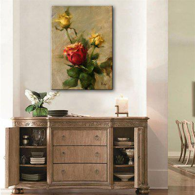 Special Design Frameless Paintings Yellow Roses Print
