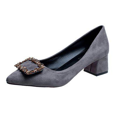 Working Women's  With Thick Black Heels Shoes