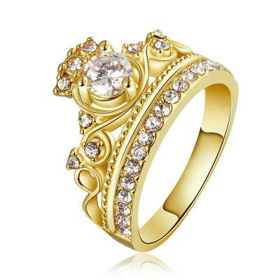 Gold Plated Crown Pattern Zircon Ring Charm Jewelry