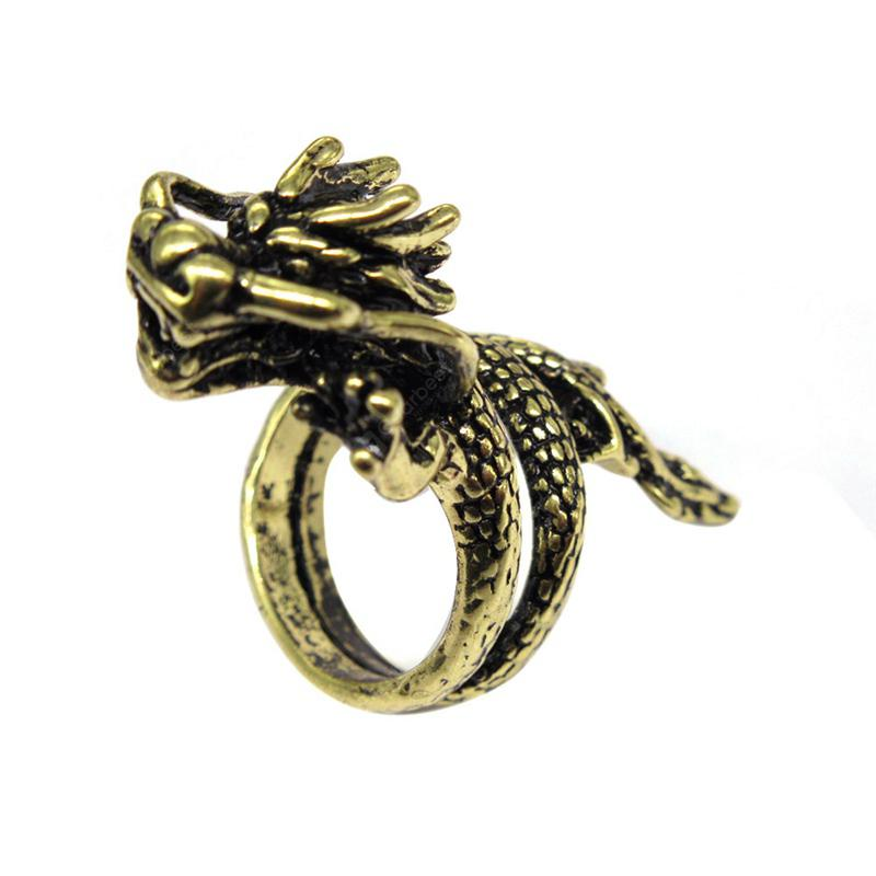 Fashion Trends Carved Domineering Panlong Men Rings