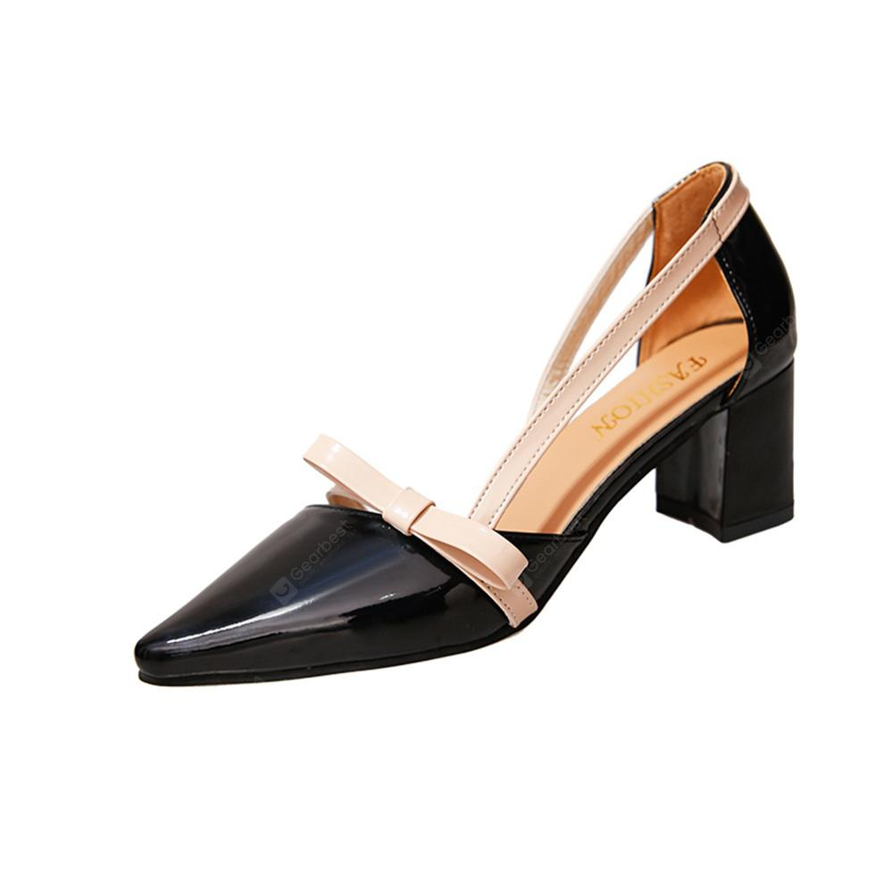 Patent Leather Baotou Thick  Pointed High Heels Women's Shoes