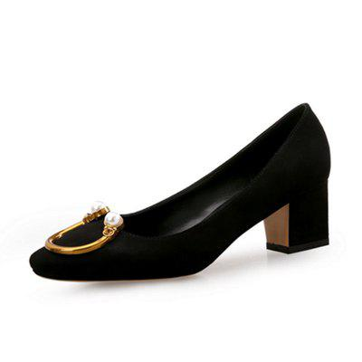 VICONE Mesdames perle quotidienne talons chunky chaussures