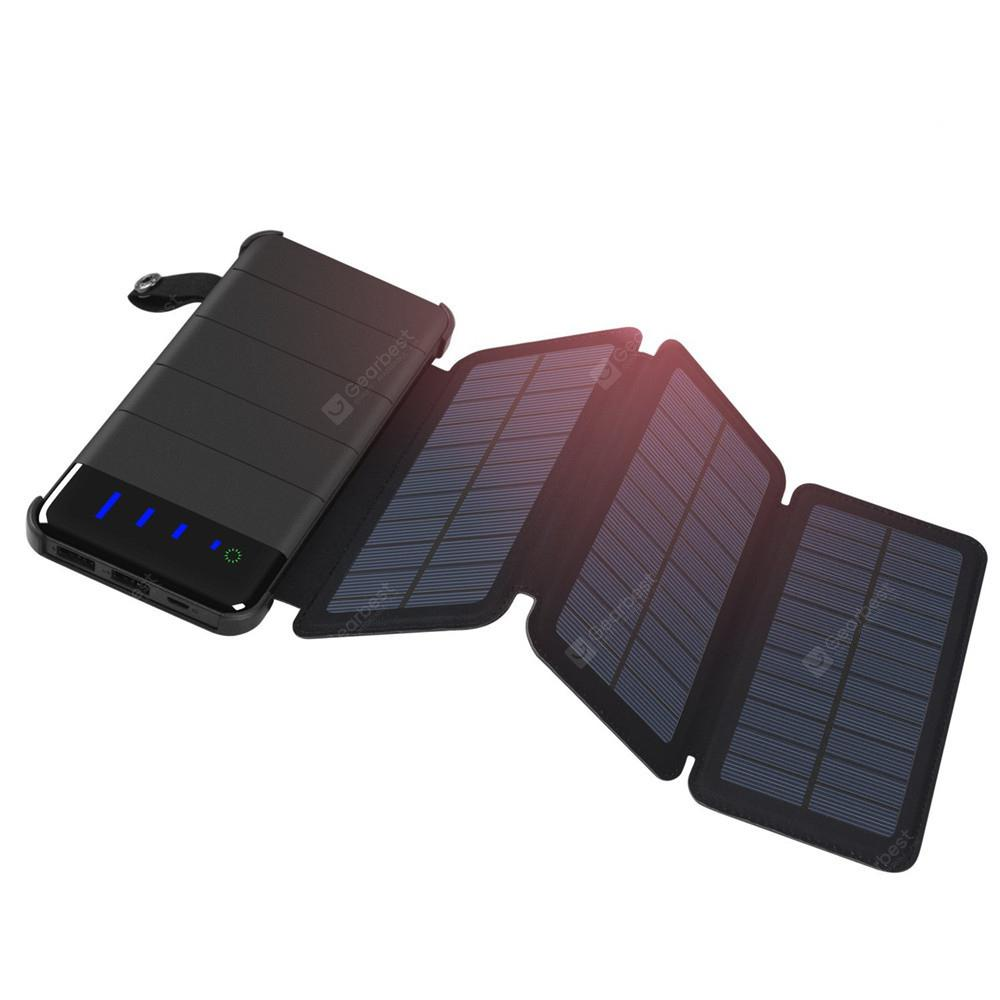 Solar Charger Detachable Power Bank 10000mAh with 2 Solar Panels...