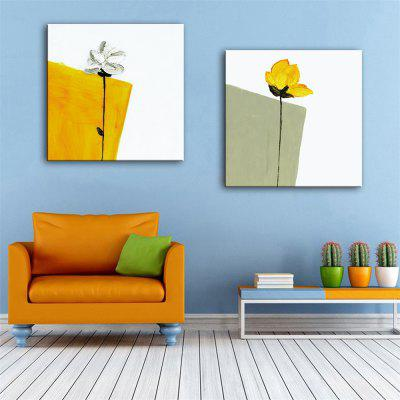 Special Design Frameless Paintings White and Yellow Print 2PCS