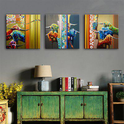 Special Design Frameless Paintings Cow Print 3PCS