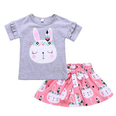 SOSOCOER Kids Clothes Set Rabbit Short Sleeved T-shirt Bowknot Skirt 2PCS