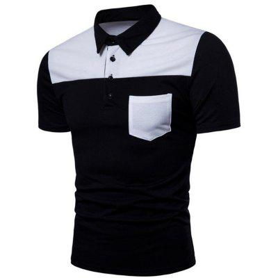 Men Patch Pocket Short Sleeve Casual Polo Shirt