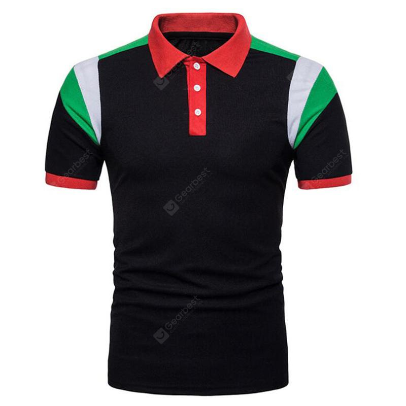 Men's Hit Color Short Sleeve Casual Polo Shirt