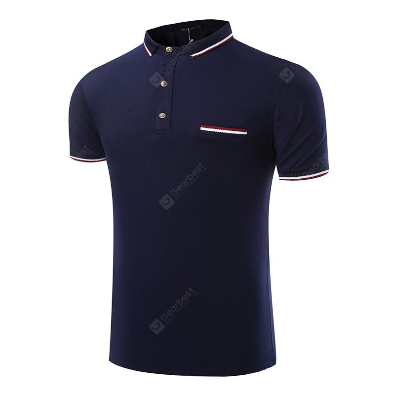 Summer Fashion Pure Color Business Leisure Men Short Sleeve Polo Shirt