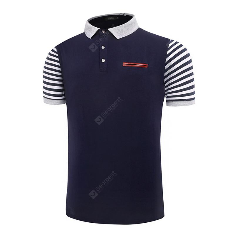 Summer New Business Stripes for Men's Short Sleeve Polo Shirts