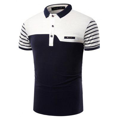 Summer Fashion Business Coloured Lapel Men's Short Sleeve Polo Shirt