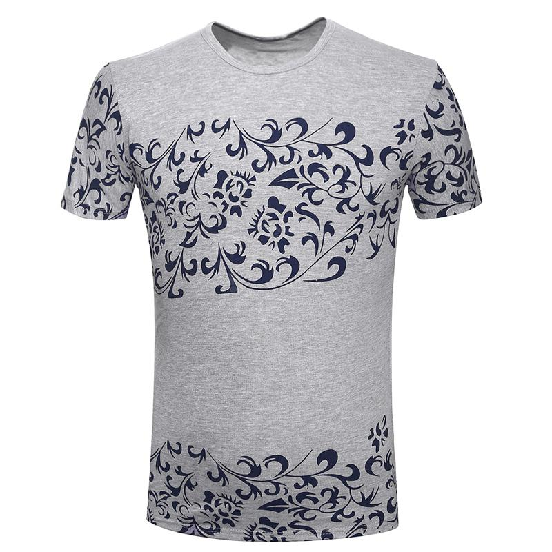 New Summer Fashion Blue and White Porcelain Printed Men's Short Sleeve T-Shir