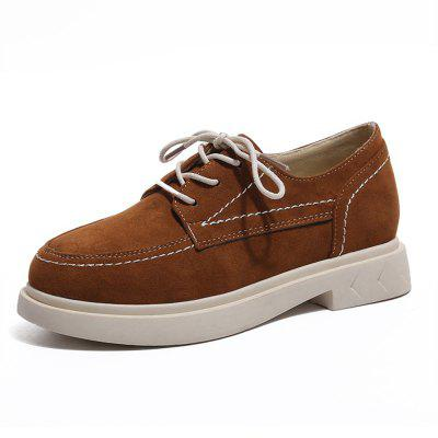 Suede and Pu Lace Up Flat Sneaker Shoes