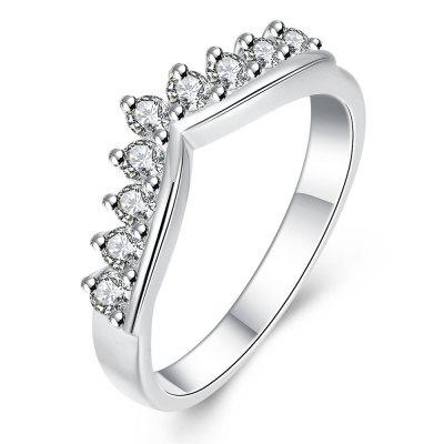 Romantic Crown Pattern Silver Plated Zircon Ring Charm Jewelry