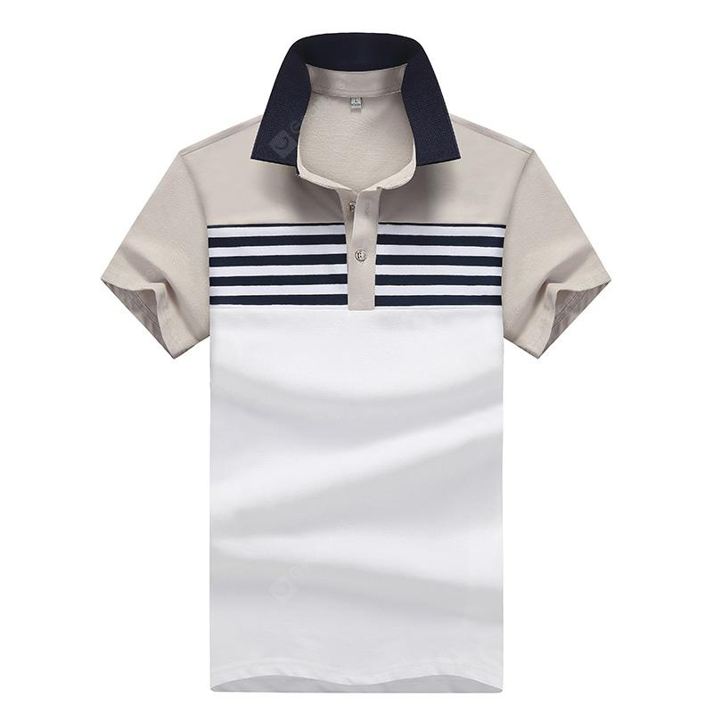 Men Striped Short Sleeves Polo Shirt