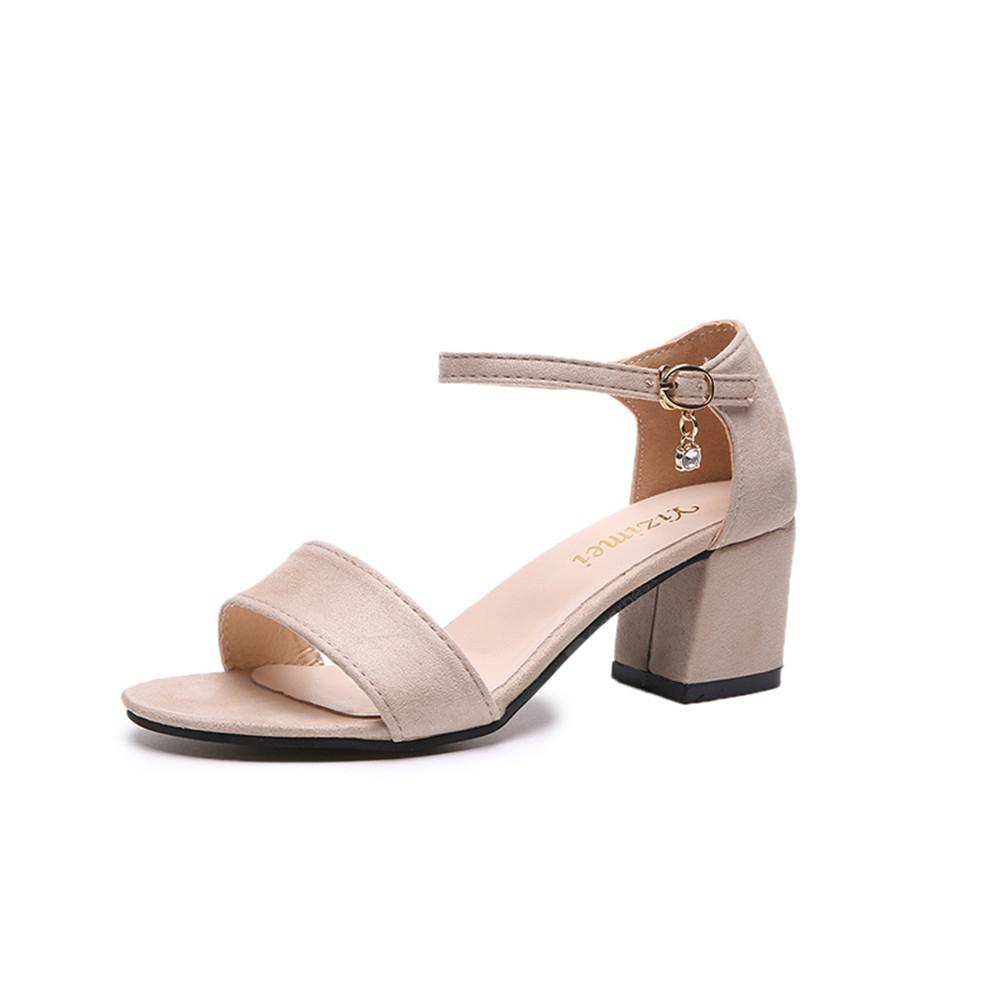 High Heel Thick Button Down Pearl Roman Lady's Shoes