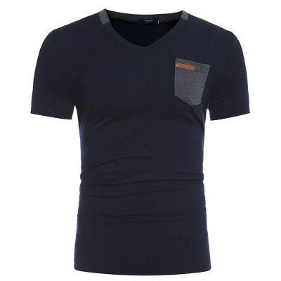 Men's New Fashion Pocket Leather Design Casual Short-Sleeved T-Shirt