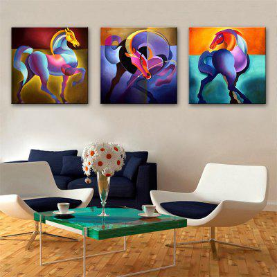 Special Design Frameless Paintings Colorful Horse Print 3PCS