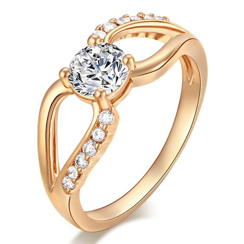 Fashionable Micro-edged and Hollowed-out Zircon Ring J1745