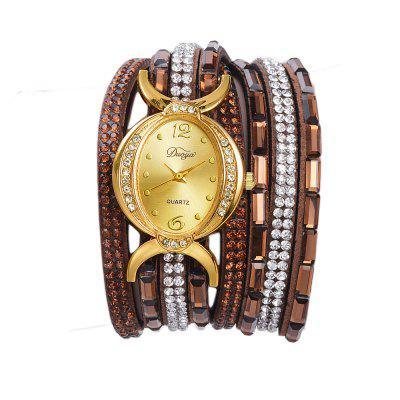 DUOYA D183 Ladies Rhinestones Analog Quartz Leather Bracelet Wrist Watch