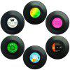 Retro Record Disc Design Drink Vinyl Coasters Non-slip Cup Bottle Mats 6PCS - BLACK