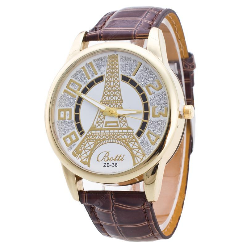Tower Pattern PU Leather Band Women Watch with Rhinestone
