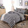 White And Black Striped Pattern Plain Comfy Bedding Bedsheet Set - BLACK