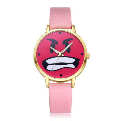 Fashion Watermelon Red Mirror Surface Angry Cartoon Expression Quartz Watch