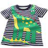 New Boy Cartoon Animal Stripe Imprimir T-shirt de manga curta - AZUL DA MEIA NOITE