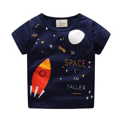 New Boy Cartoon Rocket Imprimir T-shirt de manga curta