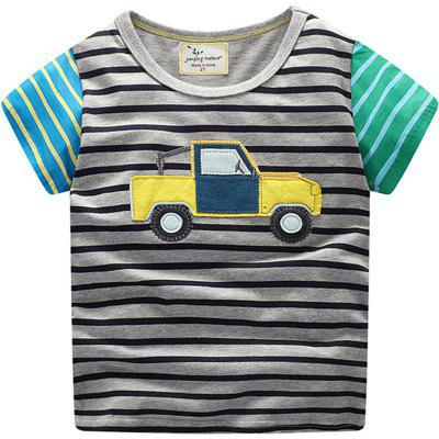 New Boy Stripe Cartoon T-shirt de manga curta para carro