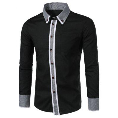 New Men's Double Collar Houndstooth Ornament Slim Long-Sleeved Shirt