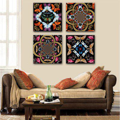 Special Design Frameless Paintings Insects and Flowers Print 4PCS