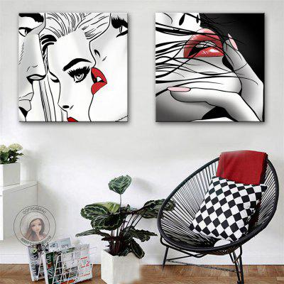 Special Design Frameless Paintings Lip Print 2PCS