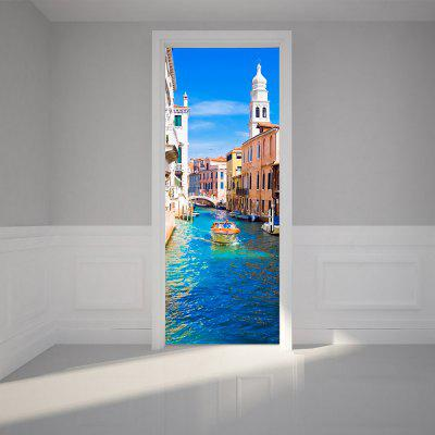 3D Water Construction Building Decals Venice Canal Removable Door Sticker