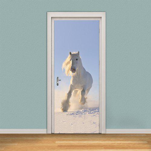 White Running Horse Self Adhesive Wall Sticker 3d Door Decals For