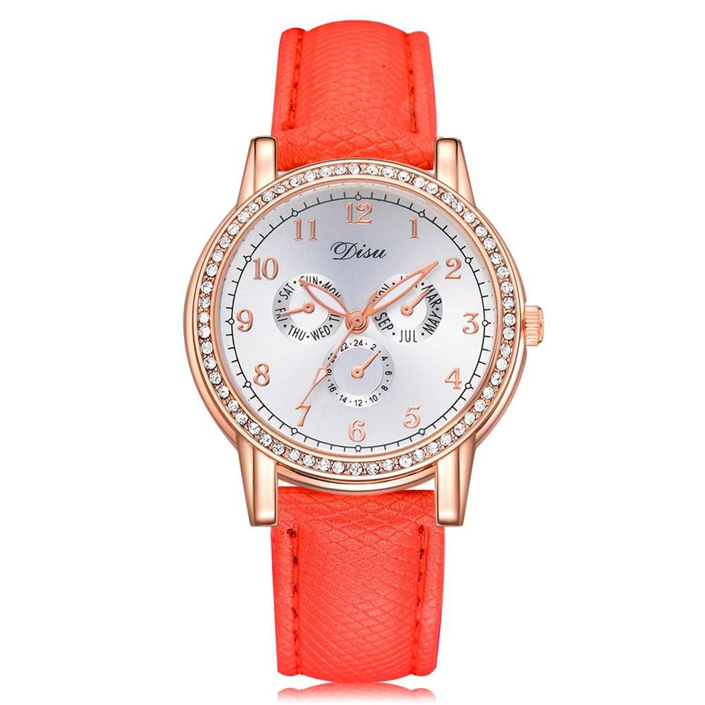 Disu Women Fashionable New Artificial Diamond-Encrusted Alloy Quartz Watch
