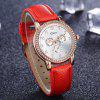 Disu Women Fashionable New Artificial Diamond-Encrusted Alloy Quartz Watch - FERRARI RED